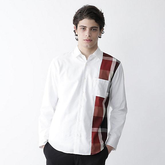 アシンメトリーパッチワークシャツ