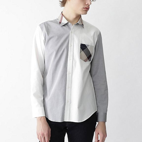 パーシャルCBチェックバイカラーシャツ