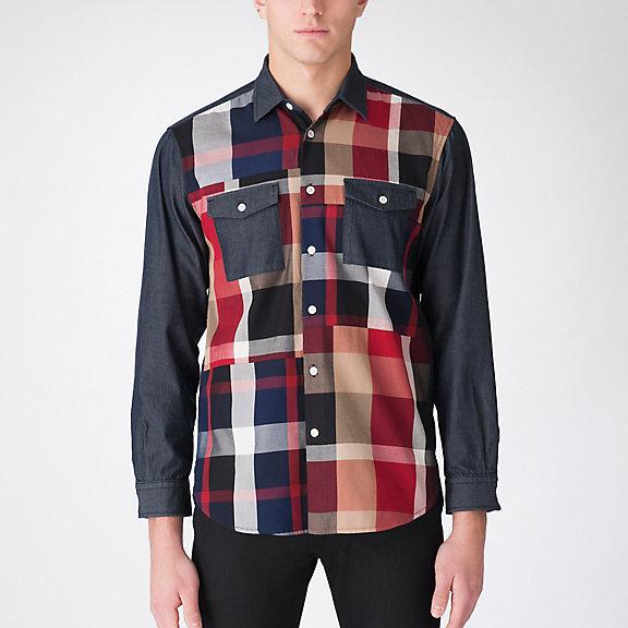JAPANデニムコンビクレストブリッジチェックパッチワークシャツ