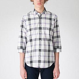 ペールトーンクレストブリッジチェックスリークオーターシャツ