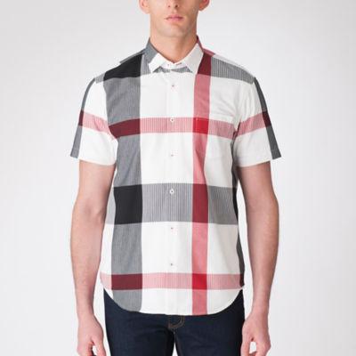 ビッグスケールシアサッカークレストブリッジチェックハーフスリーブシャツ