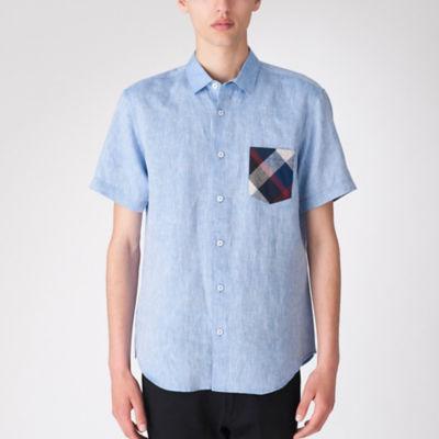 リネンクレストブリッジチェックポケットハーフスリーブシャツ