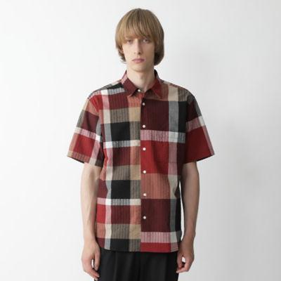 リネンサッカークレストブリッジチェックドッキングシャツ