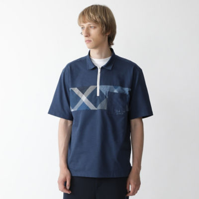ハーフジップパネルクレストブリッジチェックプルオーバーシャツ