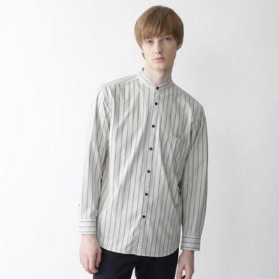 【BLACK lab.】ストライププリントバンドカラーシャツ