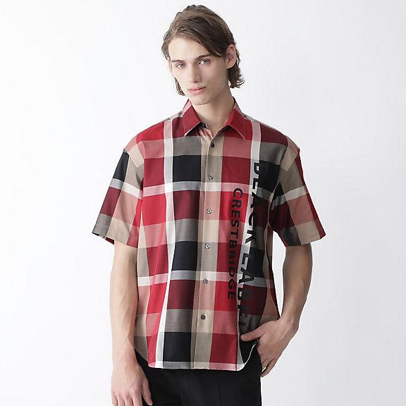 ビッグシルエットロゴプリントCBチェックシャツ