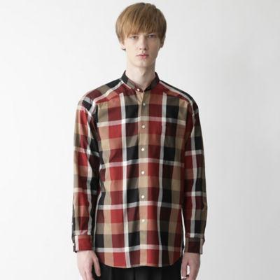 【店舗限定】ビッグシルエットクレストブリッジチェックバンドカラーシャツ