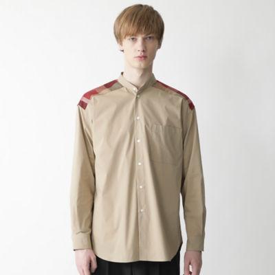 【店舗限定】ファブリックコンビビッグシルエットバンドカラーシャツ