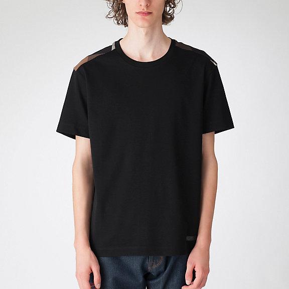 ヨークダークレッドチェックTシャツ