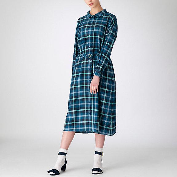 オーバーペンチェックシャツドレス