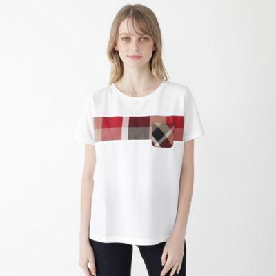 プレーティングシルケット天竺クレストブリッジチェックポケットTシャツ